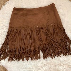 Dresses & Skirts - Fornia Faux suede fringe skirt